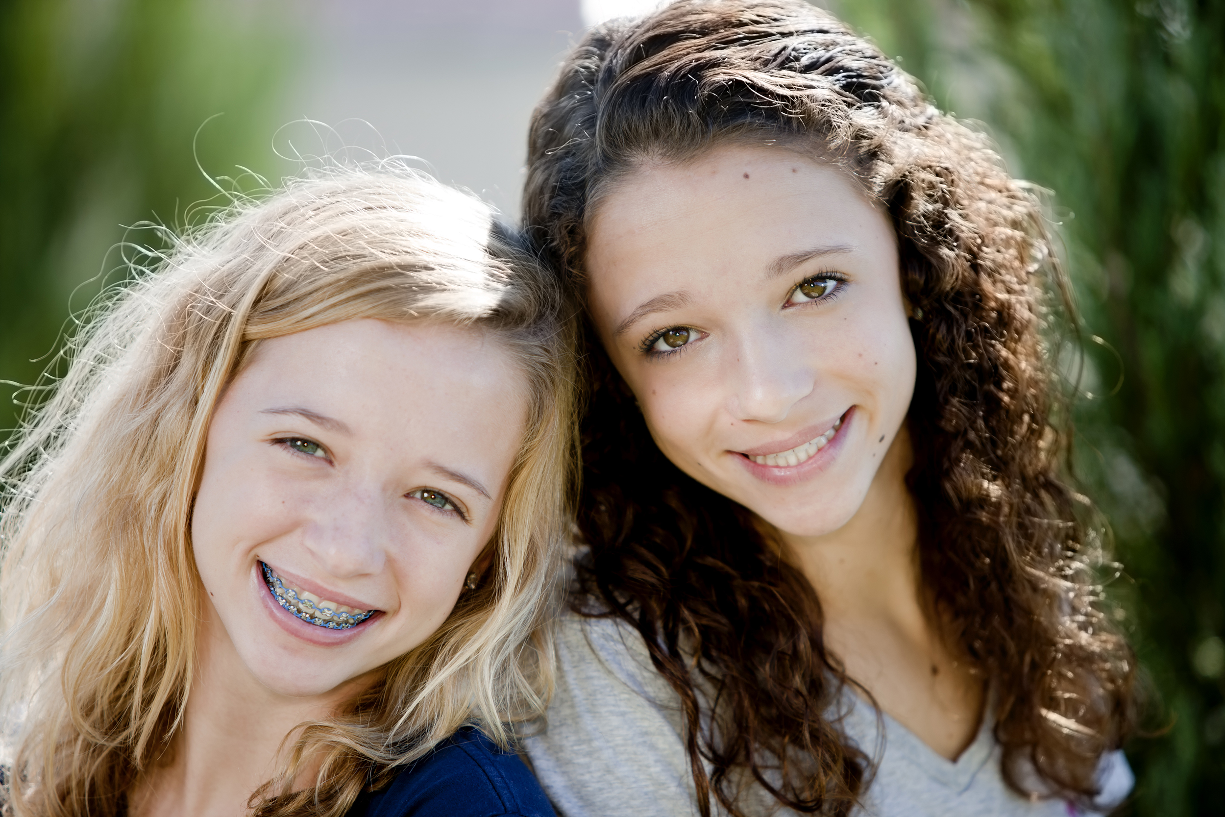 Young Girls with Braces Smiling